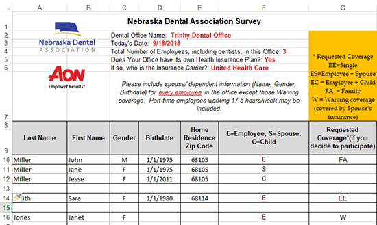 Example NDA Health Insurance Survey_Trinity